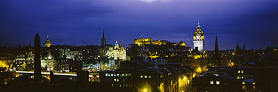 Edinburgh Castle Photograph - High Angle View Of A City Lit by Panoramic Images