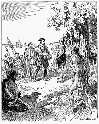 Huron Indian Drawing - Jacques Cartier (1491-1557) by Granger