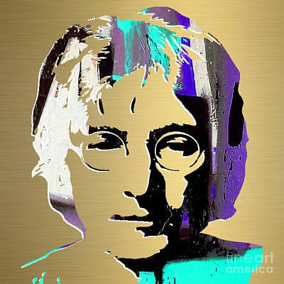 John Lennon Mixed Media - John Lennon Gold Series by Marvin Blaine
