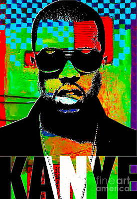 Celebrities Mixed Media - Kanye West by Marvin Blaine