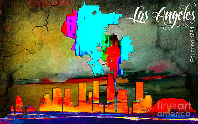 Los Angeles Mixed Media - Los Angeles Map And Skyline by Marvin Blaine
