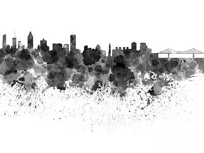 Montreal Painting - Montreal Skyline In Watercolor On White Background by Pablo Romero