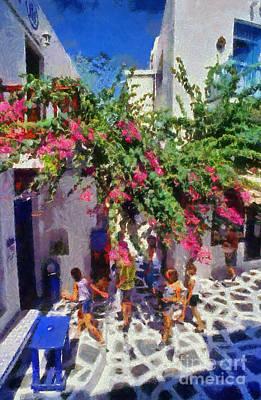 Women Painting - Mykonos Town by George Atsametakis