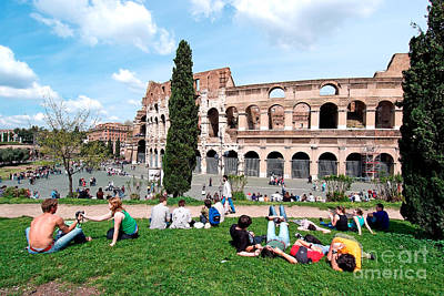 Outside Colosseum In Rome Print by George Atsametakis