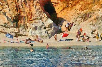 Parasol Painting - Porto Katsiki Beach In Lefkada Island by George Atsametakis