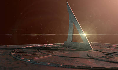 Isolated Digital Art - Sundial Lost In Time by Allan Swart