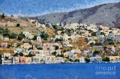 Town Painting - Symi Island by George Atsametakis