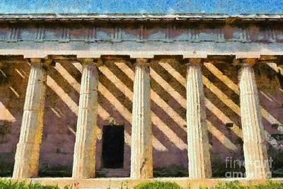 Silhouette Painting - Temple Of Hephaestus by George Atsametakis