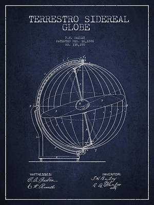 Global Digital Art - Terrestro Sidereal Globe Patent Drawing From 1886 by Aged Pixel