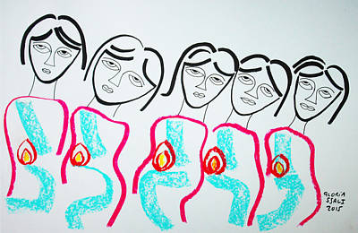 African Ceramics Drawing - The Wise Virgins by Gloria Ssali
