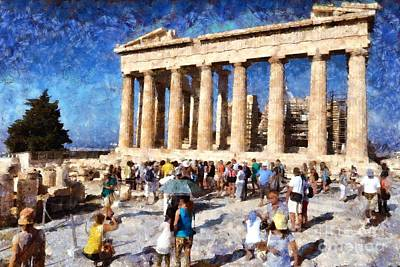 Pillars Painting - Tourists In Acropolis Of Athens In Greece by George Atsametakis