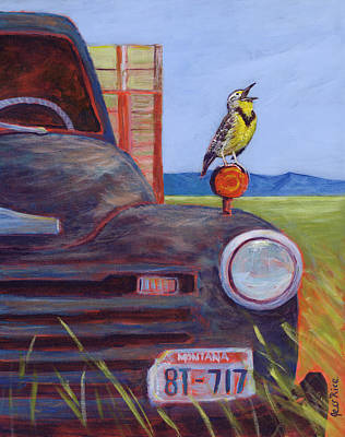Meadowlark Painting - 8-tweet by Jess Rice