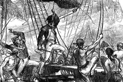War Of 1812 Painting - War Of 1812 Naval Battle by Granger