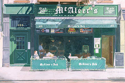 Bar Scene Painting - 80th And Amsterdam Avenue by Anthony Butera