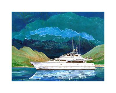 The Beginning Painting - 82 Foot Megayacht Domino Portrait by Jack Pumphrey