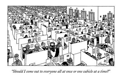 Cubicle Drawing - Untitled by William Haefeli