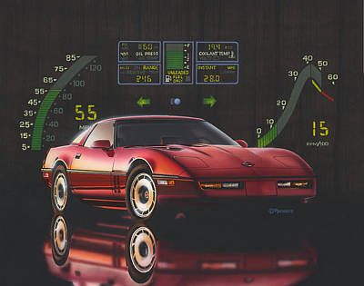 Red Painting - 84 Corvette by Richard De Wolfe