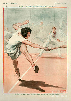 Tennis Drawing - 1920s France La Vie Parisienne Magazine by The Advertising Archives