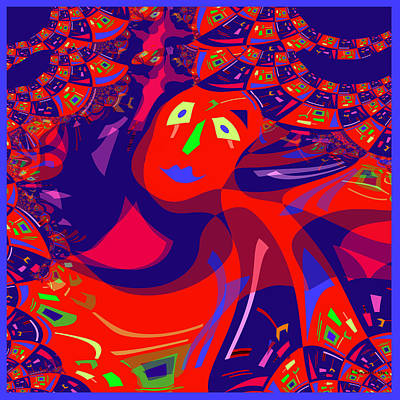 Digi-art Digital Art - 873 - Clown Lady Pop   by Irmgard Schoendorf Welch