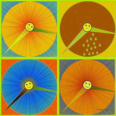 880 - Rain And Shine Clocks  Print by Irmgard Schoendorf Welch