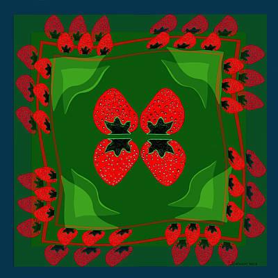 Strawberry Digital Art - 895 - Strawberry Fantasy by Irmgard Schoendorf Welch