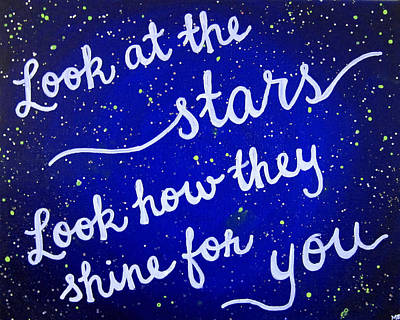 Coldplay Painting - 8x10 Look At The Stars by Michelle Eshleman
