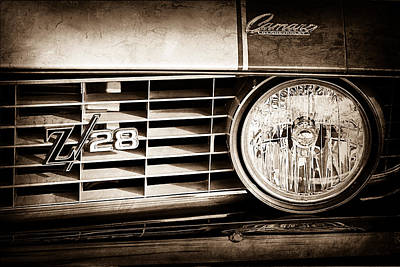 1969 Photograph - 1969 Chevrolet Camaro Z-28 Grille Emblem by Jill Reger