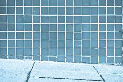 Mosaic Photograph - Blue Tiles by Tom Gowanlock