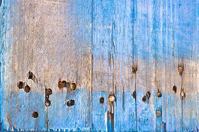 Old Plank Tables Photograph - Blue Wood by Tom Gowanlock