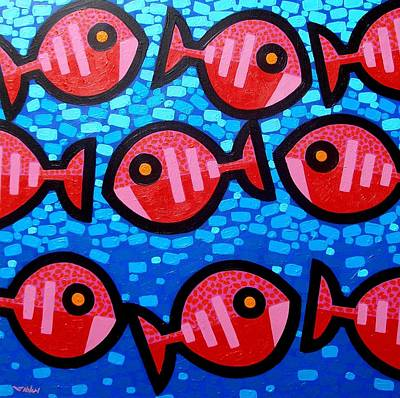 Tropical Fish Painting - 9 Happy Fish by John  Nolan