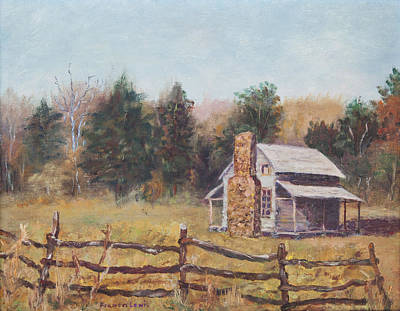 Great Smokey Mountains Painting - John Oliver's Cabin by Frances Lewis