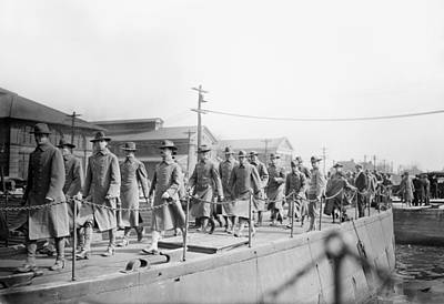 Telephone Poles Photograph - Marines Departing, 1913 by Granger