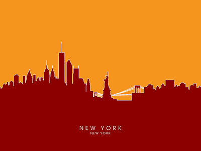 Cities Digital Art - New York Skyline by Michael Tompsett