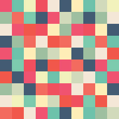 Pixel Art Square Print by Mike Taylor