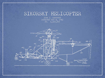 Helicopter Drawing - Sikorsky Helicopter Patent Drawing From 1943 by Aged Pixel
