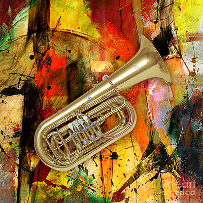 Instrument Mixed Media - Tuba by Marvin Blaine