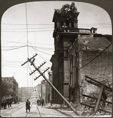 Telephone Poles Painting - San Francisco Earthquake by Granger