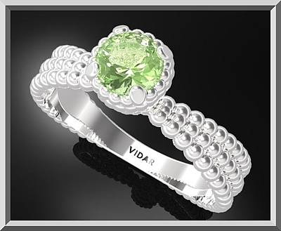 Vidar Jewelry Jewelry - 925 Sterling Silver Spiral Engagement Ring With Green Peridot Gemstone by Roi Avidar