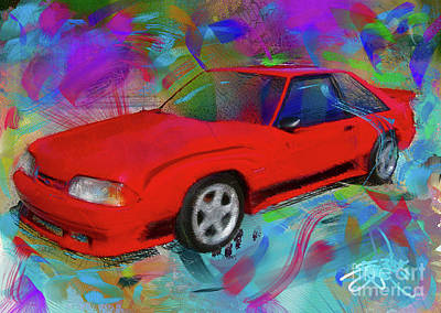 Ford Mustang Painting - 93 Mustang by Donald Pavlica