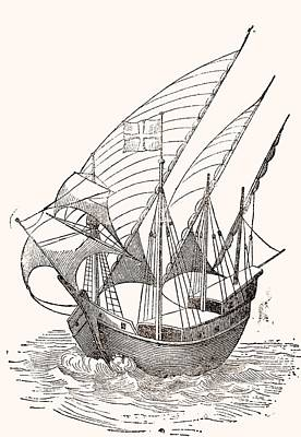 A 15th Century Caravel  Print by Spanish School
