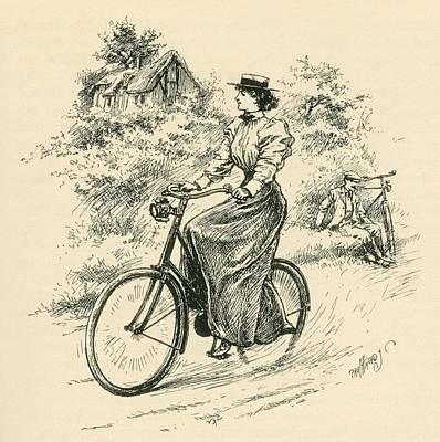 A 19th Century Female Cyclist Print by English School
