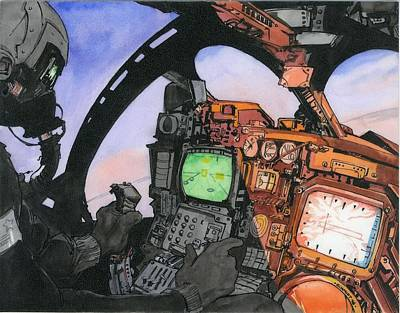 Cockpit Drawing - A-6 Cockpit by Richard Schmidt