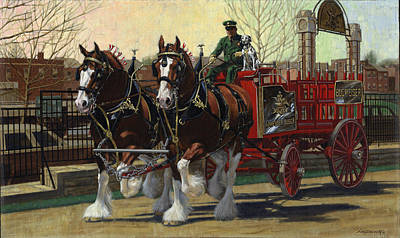 Dalmation Painting - Two Horse Training Wagon by Don  Langeneckert