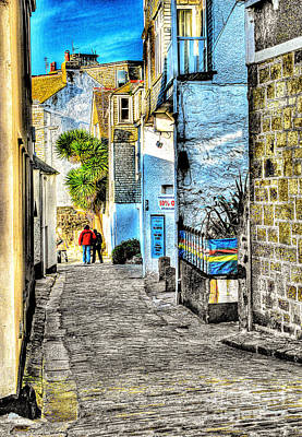 Granite Mixed Media - A Back Street In St. Ives by Anthony Hedger