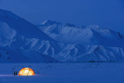 Winter Sunset Photograph - A Backpacking Tent Lit Up At Twilight by Kevin Smith