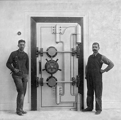 Vaults Photograph - A Bank Vault Door by Underwood Archives