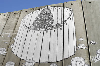 A Banksy Graffiti On The Separation Wall In Palestine Print by Roberto Morgenthaler
