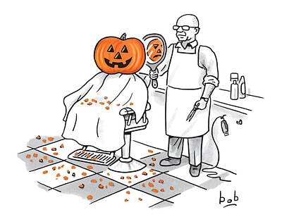 O Drawing - A Barber Shows A Smiling Jack-o-lantern The Back by Bob Eckstein