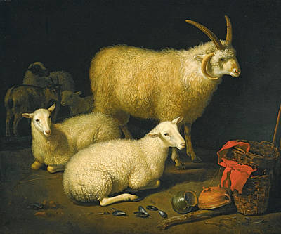 Aelbert Cuyp Painting - A Barn Interior With A Four-horned Ram And Four Ewes And A Goat by Aelbert Cuyp