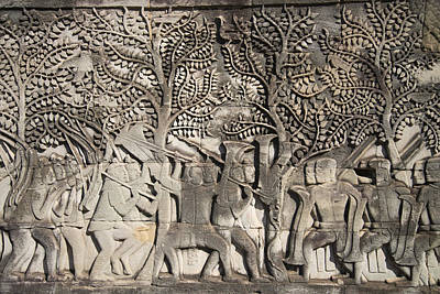 Angkor Photograph - A Bas-relief Of Bayon 13 by Zaw  Wai